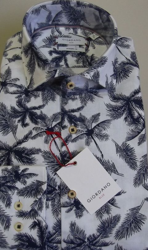 Giordano  Cotton & Linen Palm Tree Shirt  - 917522